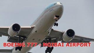 Cận cảnh máy bay cỡ lớn Boeing 777 hoạt động ở Nội Bài.
