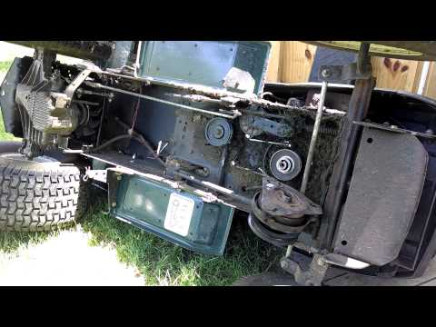 How to Change Replace Main Transmission Drive Belt Craftsman Lawn Mower Tractor Electric Clutch