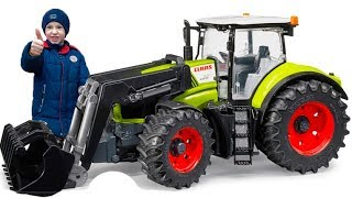 Unboxing and Ride on Bruder Tractor Kids Toys / Damian Pretend Play with his new Power Wheel Toy