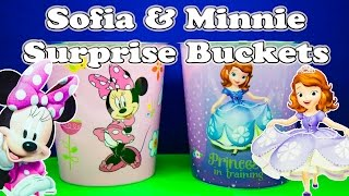SURPRISE BUCKET Disney Sofia the First & Minnie Mouse Surprise  Bucket a Surprise Egg Video