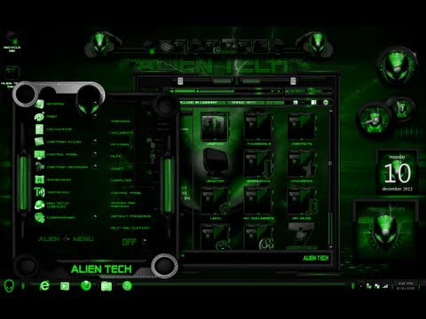 tema para windows 7 alien tech green
