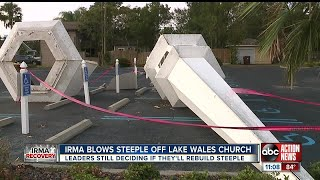 Hurricane Irma blows steeple off Lake Wales church