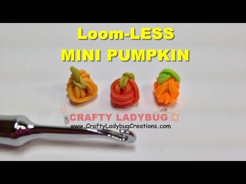 Rainbow Loom Bands MINI PUMPKIN NO LOOM-HALLOWEEN EASY Charm Tutorials/How to Make by Crafty Ladybug