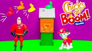 Playing Chicks go Boom Game with Paw Patrol Marshall vs Mr  Incredible