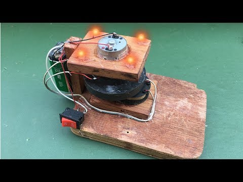 How to Create a Free Energy Generator with DC Motor and Magnet for Light Bulb, Science Project 2018 thumbnail