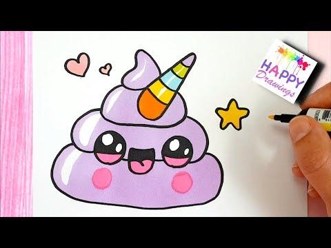 How to Draw Cute Rainbow Unicorn Emoji Poop - STEP BY STEP drawing tutorial
