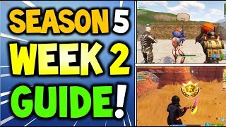 Fortnite WEEK 2 CHALLENGES GUIDE - Search between Oasis, rock Archway and Dinosaurs + Hoop Locations
