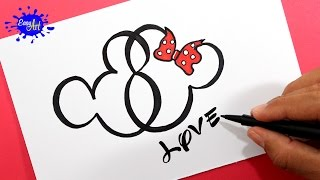 Como dibujar un corazón Mickey Mouse / How to draw a heart Mickey Mouse.