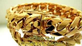 18k Rose Gold Miami Cuban Link Bracelet Daniel Jewelry Inc