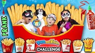 French Fry Challenge w  SRIRACHA HOT SAUCE! FUNnel Vis Blind Folded Taste Test Game