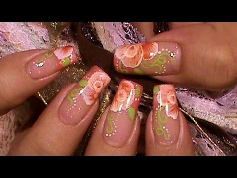 Delicate One Stroke Coral Roses Nail Art Design Tutorial