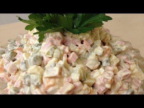 Зимний салат. Салат Оливье классический. Рецепт салата: Оливье с колбасой.