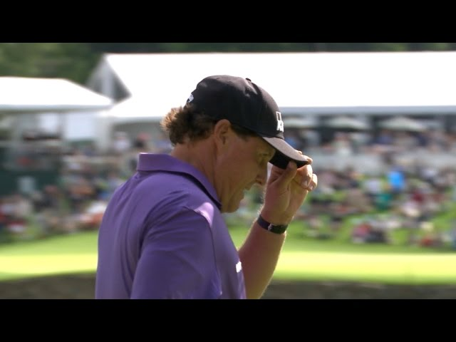 Phil Mickelson holes lengthy putt for birdie at Wells Fargo