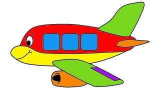 Learn Colors For Children Kids Airplane Coloring Page For Babies Toddlers