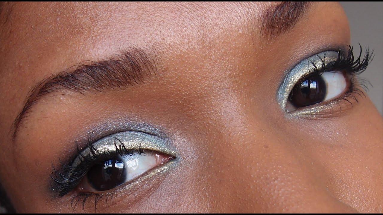 Maquillage Yeux Bleu Turquoise Indigo Dor Eyes Make Up Blue Gold Youtube