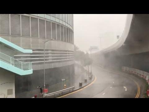 Typhoon Haima Slams Into Hong Kong