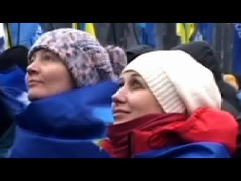 Ukrainian pro-government supporters rally in Kiev
