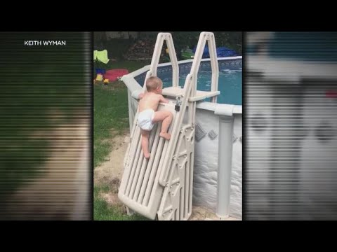 Toddler climbs pool safety ladder in viral video