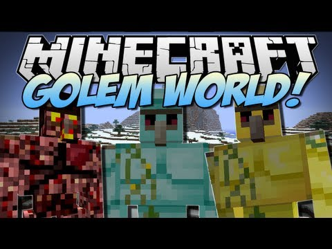 Minecraft GOLEM WORLD Mo Golems Mod Showcase 1.6.2
