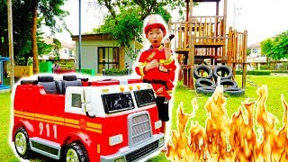brandweerwagen auto speelgoed kinderen video- Fire Truck Power Wheels Car