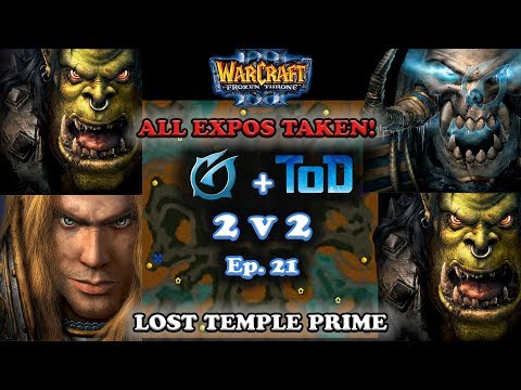 Grubby | Warcraft 3 The Frozen Throne | 2v2 with ToD Orc+HU v Orc+UD - All Expos Taken! -Lost Temple