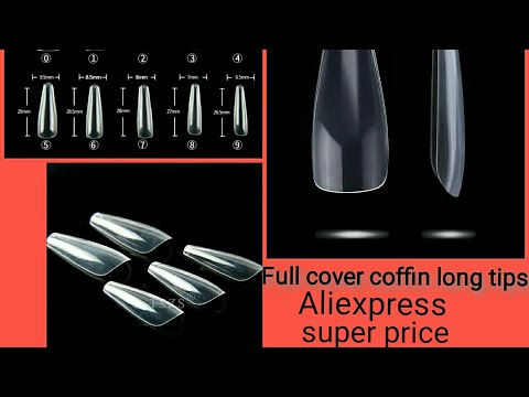 Full cover long coffin nail tips 500psc