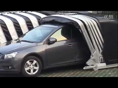 Solar Powered Retractable, Automatic car garage كراج ذا غطاء متحرك اتوماتيكي قابل للشحن
