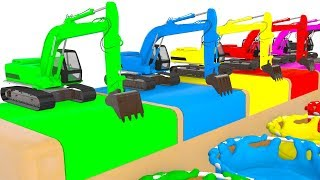Colors With Cars for Children and Excavator Color Vehicle Cartoon Educational for Kids