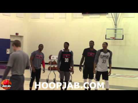 Chris Paul, Jeff Green, Wes Johnson & CJ Wilcox shoot 3's before practice.