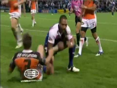 Manu &#039;The Beast&#039; Vatuvei scores a try for the New Zealand Warriors in a rugby league game against the Weats Tigers at Mount Smart Stadium, New Zealand on Sun...