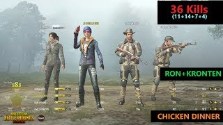 "[Hindi] PUBG Mobile   ""36 Kills"" RON+Kronten Amazing Game Chicken Dinner"