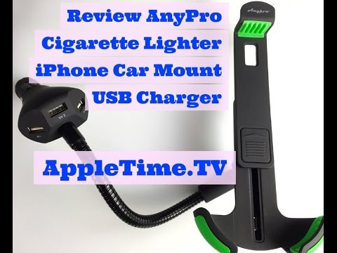 Review ANYPRO iPhone Car Mount USB Charger. Cigarette Lighter Holder