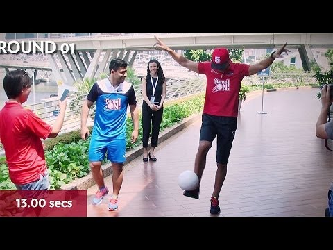 Rio Ferdinand & Sergio Aguero football 'Keepie-Uppie' competition
