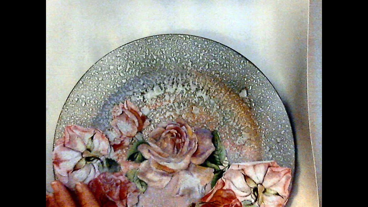 Decoupage come fare sfondo particolare youtube for Decoupage su vaso di vetro