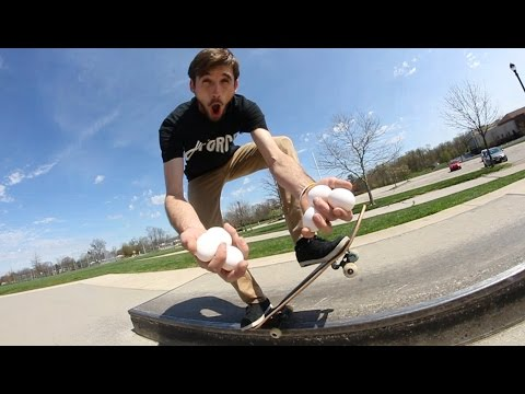 Handful Of Eggs Skateboarding Challenge! (Don't Break It!)