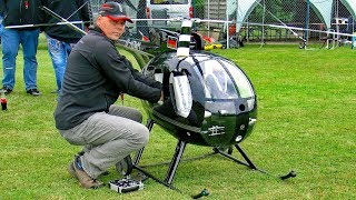 GIGANTIC XXXL HUGHES 500 SCALE MODEL ELECTRIC HELICOPTER FLIGHT DEMONSTRATION