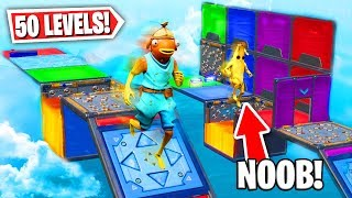 Teaching a NOOB how to Play DEATHRUNS *50 LEVEL DEFAULT DEATHRUN*! (Fortnite Creative Mode)