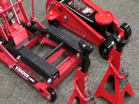 Powerbuilt Triple Lift Floor Jack Video Pep Boys Youtube