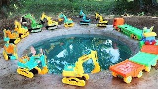 Excavator Swimming Water Fun - Construction Vehicles Toys | Truck and Digger