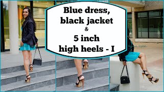 Crossdresser - blue dress, black jacket and high heeled sandals   part 1 | NatCrys