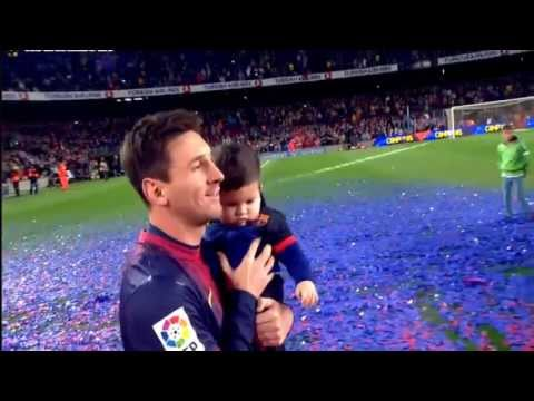 Messi celebrates with his son Tiago title Spanish league 2013 HD