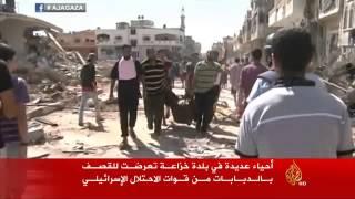 دمار واسع جراء قصف قوات الاحتلال بلدة خزاعة