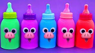 Learn 5 Colors Kinetic Sand Baby Milk Bottle and Fruit Juice Party | PJ Masks,Surprise Eggs