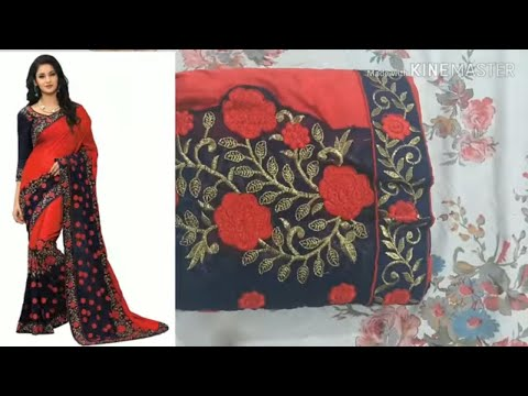 Flipkart Embroidery Fashion Silk Saree review and unboxing|Flipkart sarees