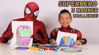 Superhero 3 Marker Challenge Fun With Spider Man Iron Man And Ckn Toys