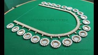 simple aari mirror work blouse neck design   mirror work designs for blouses