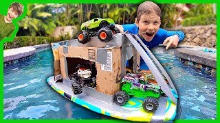 MONSTER TRUCK BOX FORT BOAT!