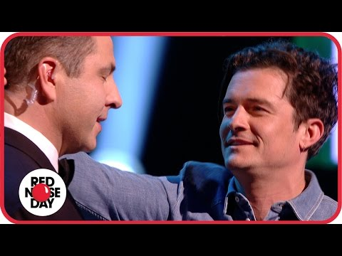 Orlando Bloom snogs David Walliams