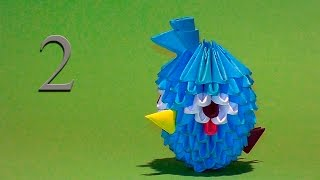 How to make blue Angry Bird out of paper tutorial 3D origami