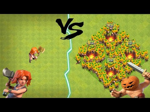 NEW TROOP ALL PUMPKIN BARBARIANS VS ONE MAX VALKYRIE TROLL ATTACKS | CLASH OF CLANS